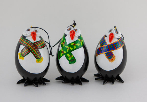 Penguin Christmas Ornaments - Gift box of 3-  Plaid Scarfs-  Penguins with scarf - Gourd Ornament - Penguin Holiday Gift - Gourdaments