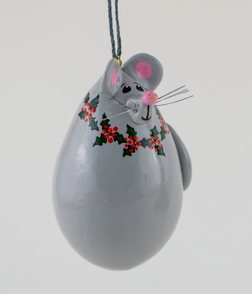 Mouse Ornament- Gourd Art - Christmas Ornament - Mice - Holly Wreath - Grey Mouse - Christmas Tree -  Hanging ornament - Gourdaments