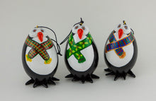 Load image into Gallery viewer, Penguin Christmas Ornaments - Gift box of 3-  Plaid Scarfs-  Penguins with scarf - Gourd Ornament - Penguin Holiday Gift - Gourdaments