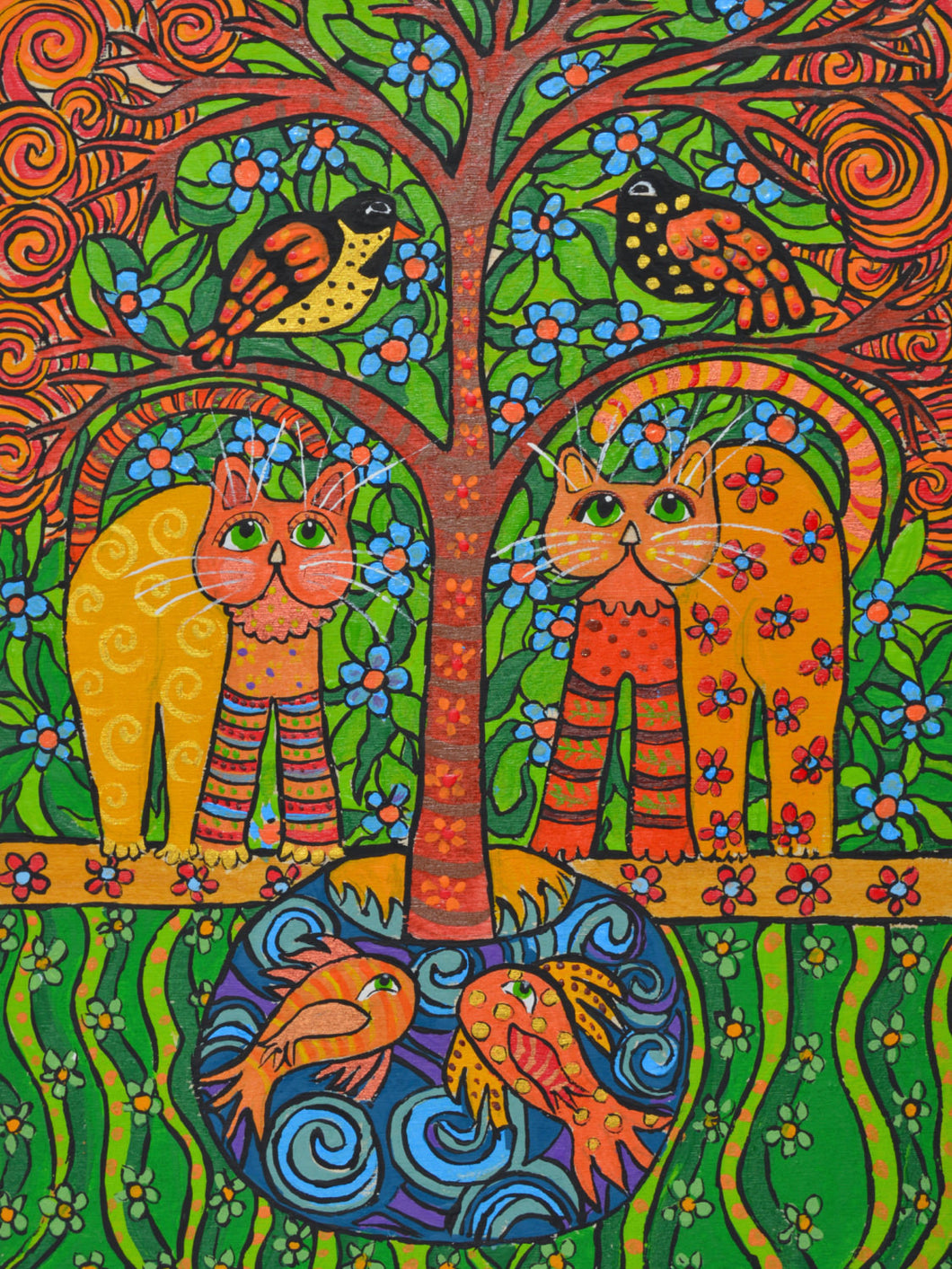 Cat Folk Art Acrylic on wood - Gourdaments