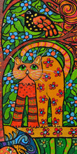 Load image into Gallery viewer, Cat Folk Art Acrylic on wood - Gourdaments