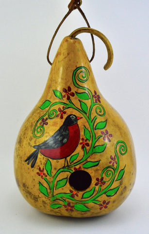 Gourd Birdhouse, Robin Bird, Rustic Home, bird watcher, yard art, bird lover, garden art, garden décor - Gourdaments