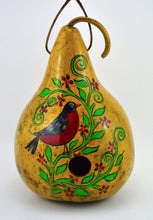 Load image into Gallery viewer, Copy of Gourd Birdhouse, Robin Bird, Rustic Home, bird watcher, yard art, bird lover, garden art, garden décor - Gourdaments