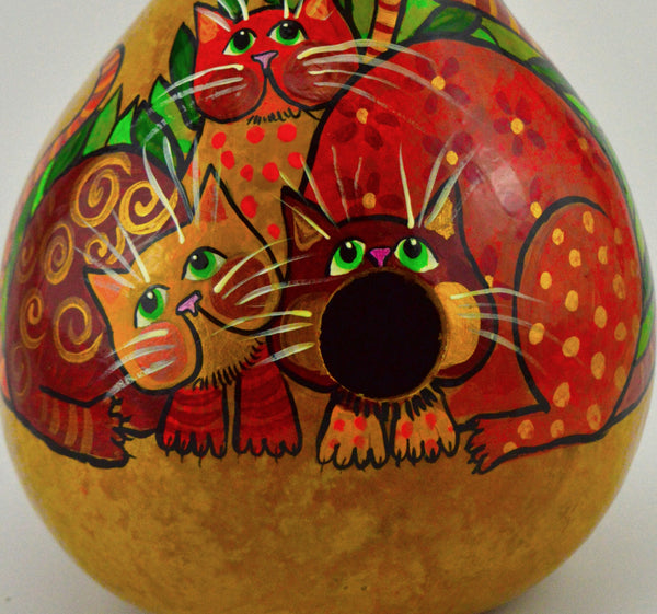 Gourd Birdhouse, Whimsical Cat,  Garden Decor, Fun Art, Gift for Cat Lover, Funny Cat Art, Crazy Cat Lady, Gift for her, Natural Decor - Gourdaments