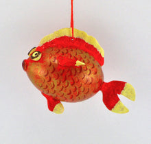 Load image into Gallery viewer, Goldfish Gift, Gourd Art, Gourdament, Holiday Ornament, fishing gift, Painted Gourd, Fish art, Unique gift, - Gourdaments