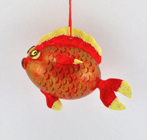 Goldfish Gift, Gourd Art, Gourdament, Holiday Ornament, fishing gift, Painted Gourd, Fish art, Unique gift, - Gourdaments