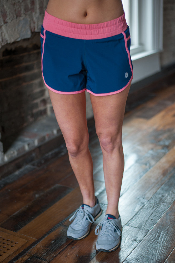 Harper Knit Navy/Coral Shorts, Running Shorts, Activewear, Gym Shorts
