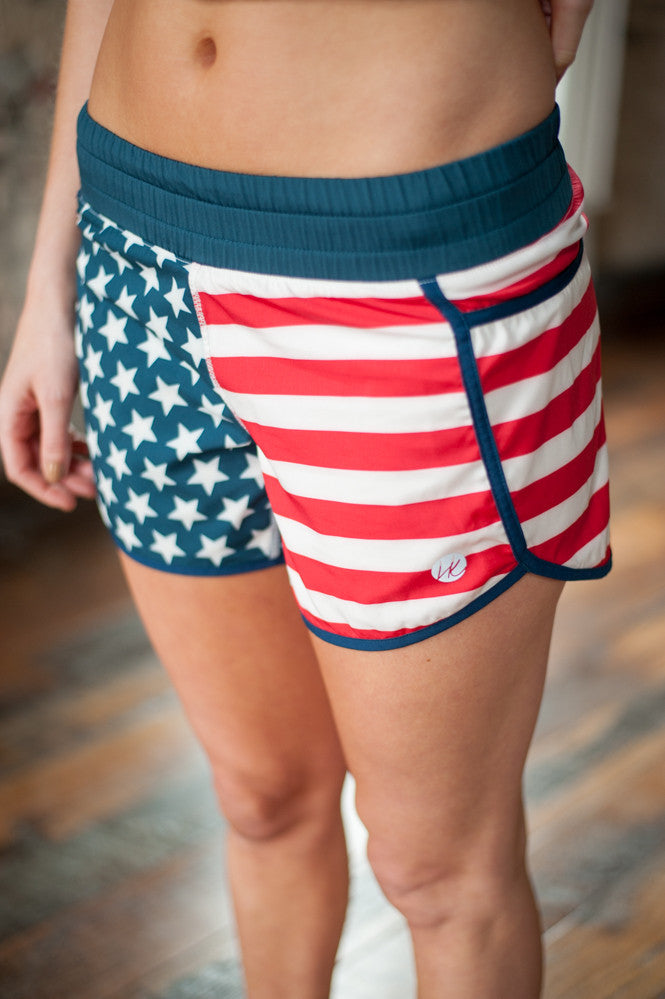Harper Knit USA Shorts, Running Shorts, Activewear, Gym Shorts, American Flag Shorts