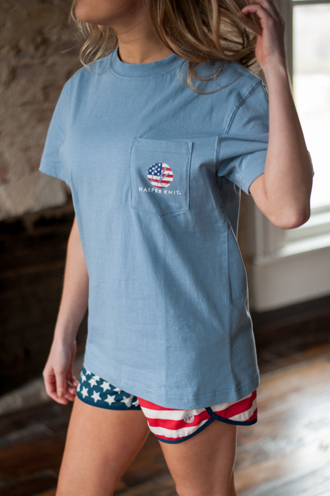 Harper Knit Pocket Tee, Activewear, Southern Pocket Tee, USA Pocket Tee, America T-Shirt, 'Merica
