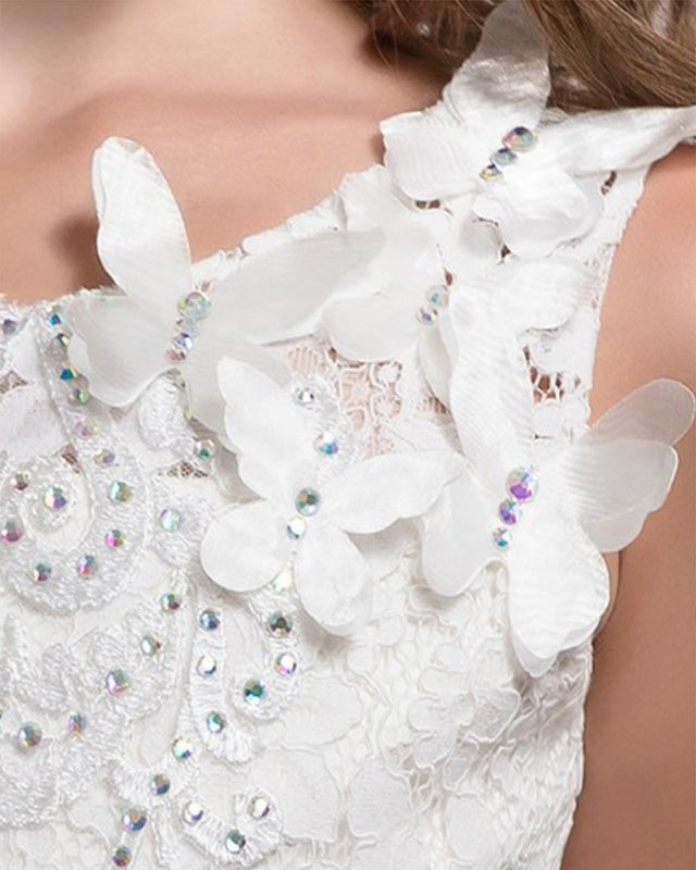 Flower girl dresses beaded bodice with butterflies