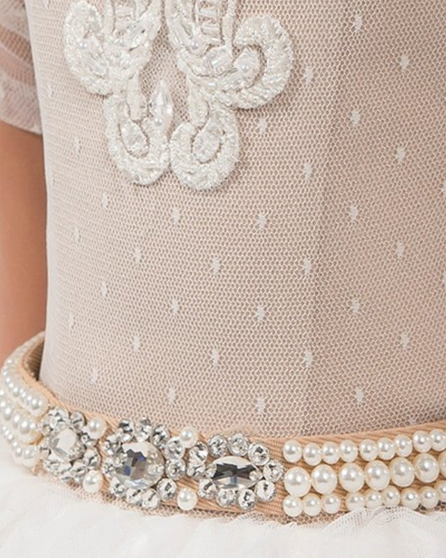 Flower girl dresses sash with pearls
