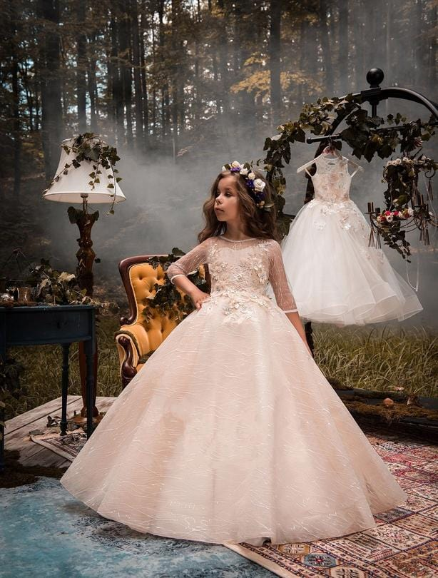 Buy Malta flower girl dress with 3D floral lace appliques