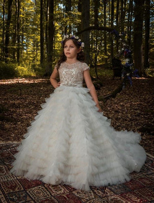 Buy Veracruz ivory and gold flower girl dress with long train