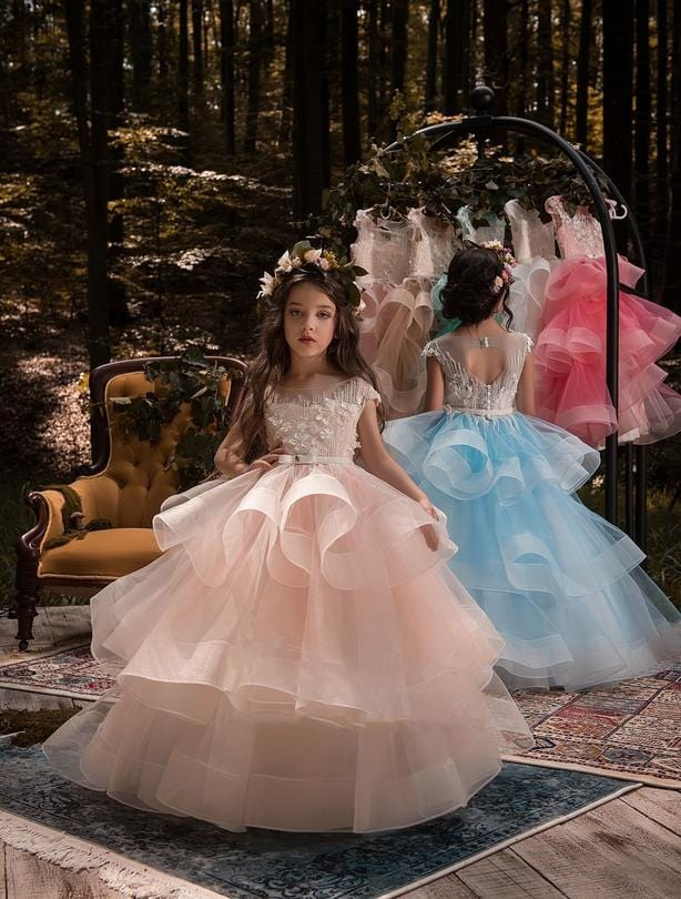 Buy Rio flower girl dress with with keyhole opening and  voluminous skirt