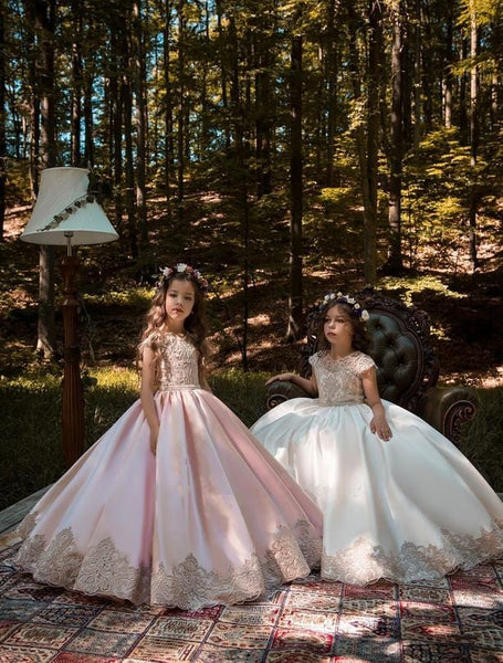 Bali blush and ivory satin flower girl dress with gold lace