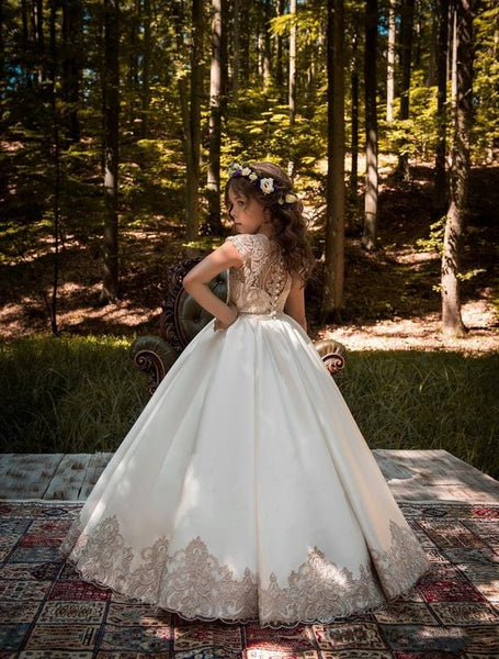 Bali satin flower girl dress with gold lace back