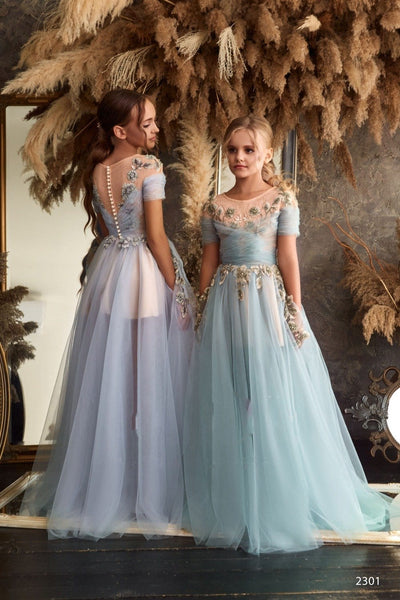 2301 Samira Girls Cold Shoulder Tulle Ball Gown for Wedding or Quinceanera