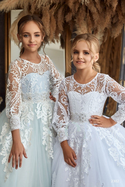2302 Ivana Off Shoulder 3D Floral Lace Maxi Princess Dress for Girls