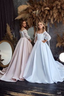 Buy Ivory, Cappuccino, Pink, Coral, Lavender, Fuchsia, Blue, Aqua, Mint Flare-sleeve Tulle Junior Bridesmaid Gown