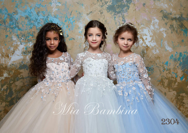 2304 Susanna Elegant Flower Embroidered Princess Tulle Dress with Train for Girls - Mia Bambina Boutique