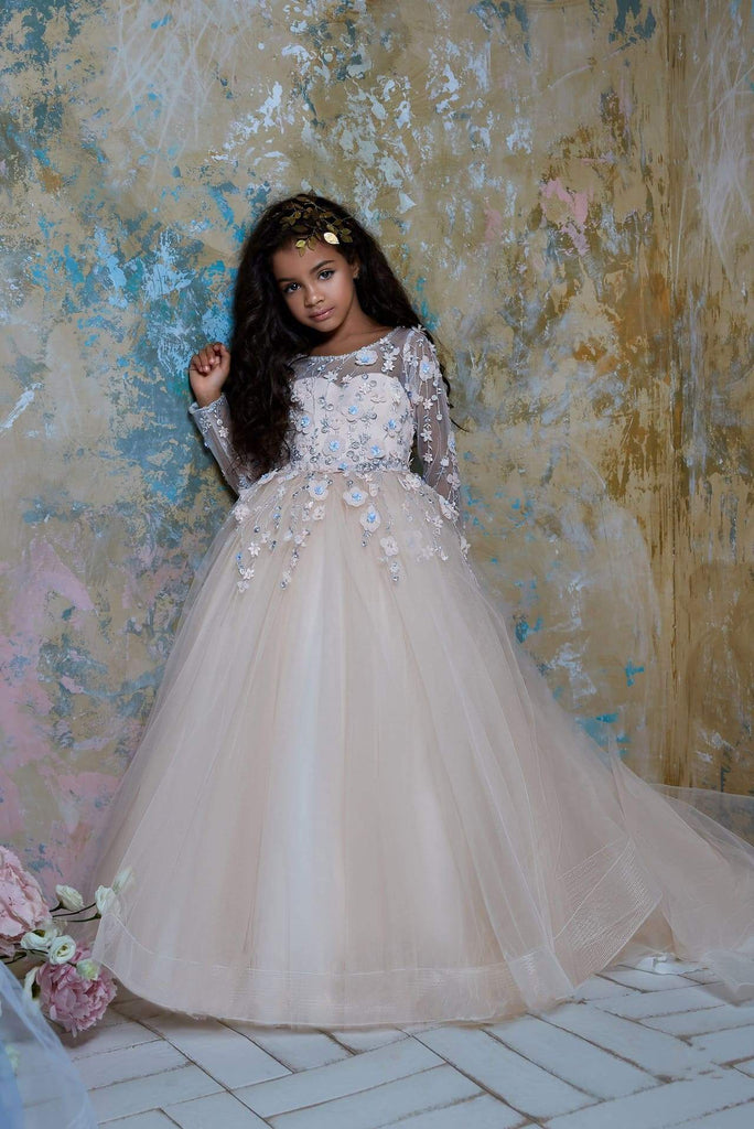 Ball Gown Flower Embroidered Princess Tulle Dress with Train for Girls