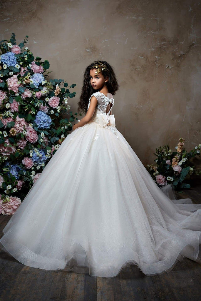 2305 Gerbera Girl's Flower Embroidered Glitter Tulle Formal Princess Gown