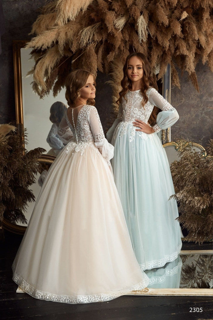Girls Glitter Tulle Princess Ball Gown for Flower Girls and Communion