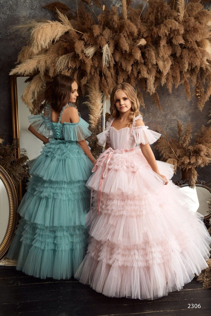 2306 Boho Style Girls Flounce Short-sleeve Open Back Maxi Dress for Birthday or Wedding