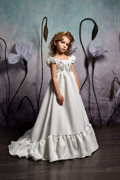 Maxi Flounce Dress with Short Sleeves and Open Back for Flower Girl