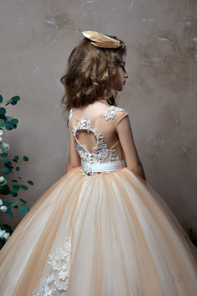 2307 Rosana Tulle Lace Illusion Neckline Princess Ball Gown for Flower Girl