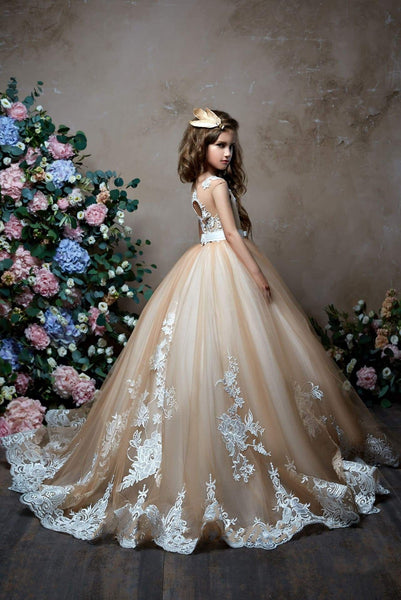 Tulle and Lace Princess Ball Gown with Illusion Neckline for Flower Girl