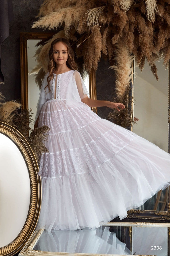 2308 Paloma Lovely A-line Lace & Satin Maxi Dress with Train for Girls