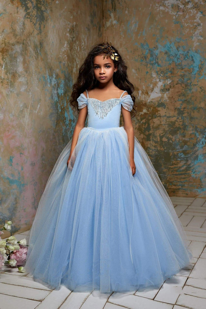 Buy 2310 Cinderella Little Girls Open Shoulder Fringe & Glitter Princess Ball Gown