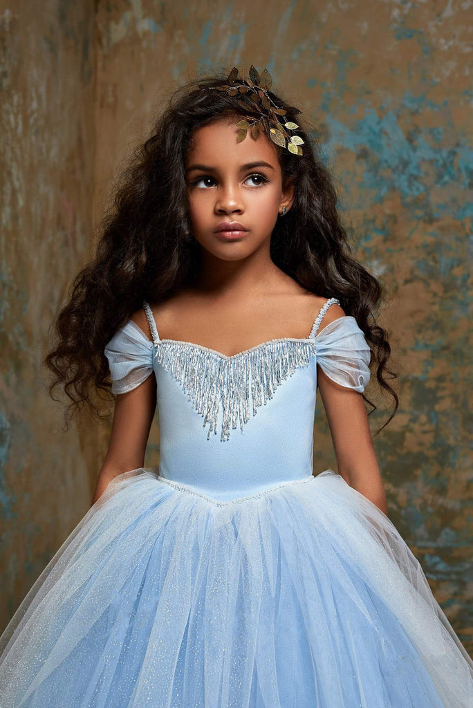 2310 Cinderella Little Girls Open Shoulder Fringe & Glitter Princess Ball Gown