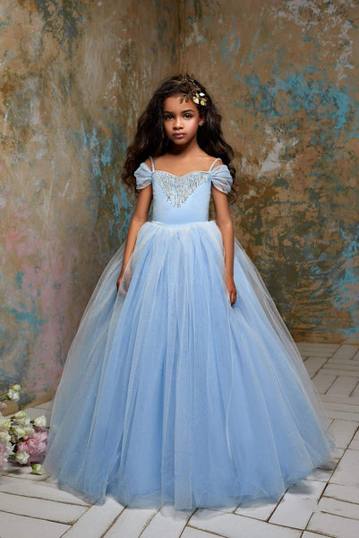 Cinderella Little Girls Open Shoulder Fringe & Glitter Princess Ball Gown