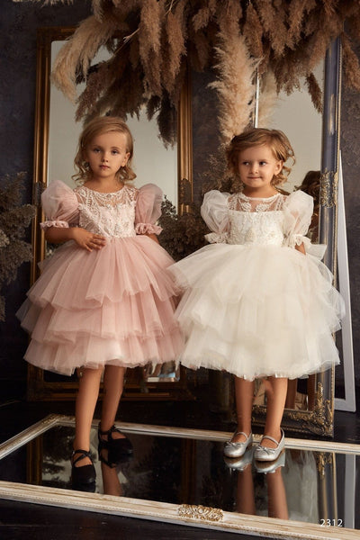 Girls Cap Sleeves Lace and Tulle Princess Ball Gown