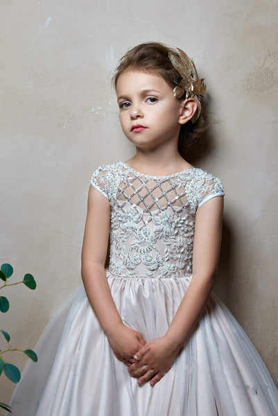 2312 Ramselle Girls Cap Sleeves Lace Appliques Tulle Princess Ball Gown