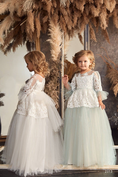 Flower Girls Hi-Low Boho Style Off-the-Shoulder Flounce Dress for Photoshoots