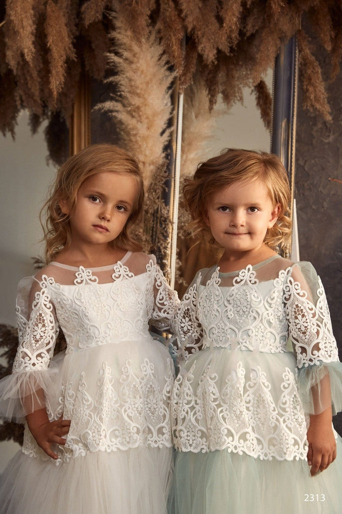 2313 Jardine Flower Girl Hi-Low Boho Style Off-the-Shoulder Flounce Dress for Photoshoots