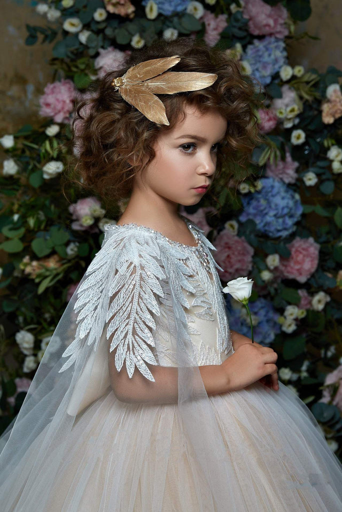 2314 Enrica Sleeveless Lace Illusion Bodice Princess Ball Gown Flower Girl with Cape
