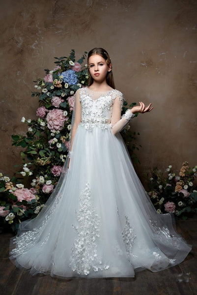 Girls First Communion Long Sleeved Lace Top Princess Ball Gown