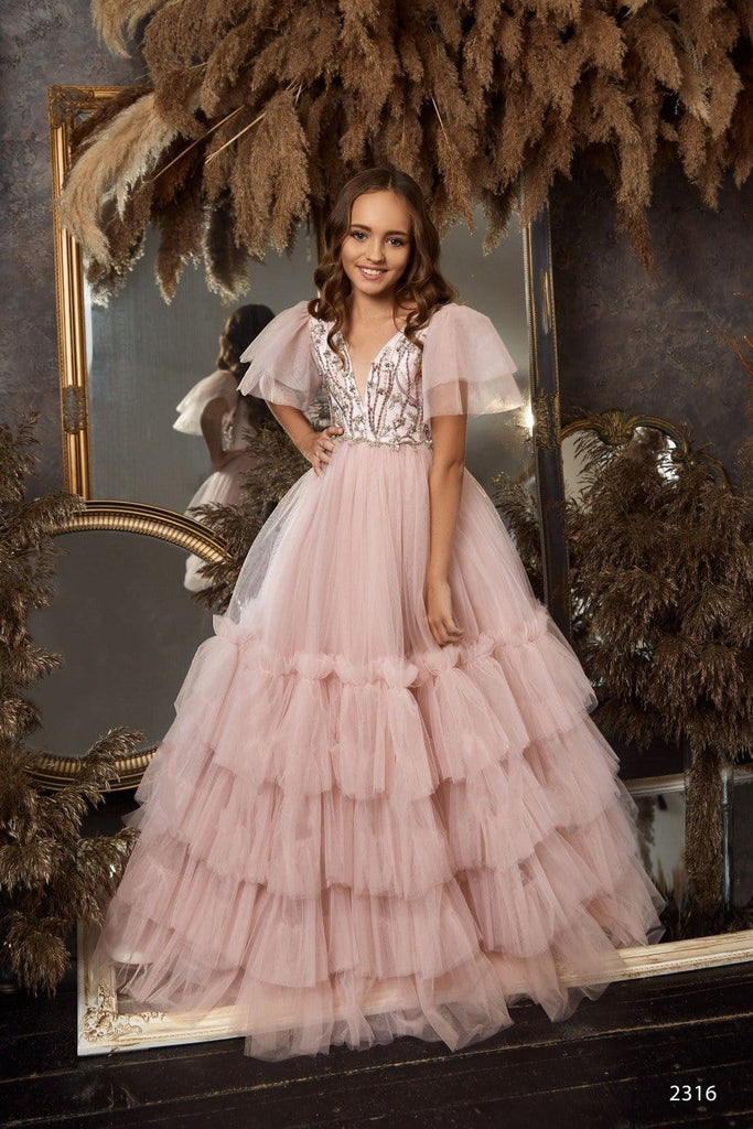 Buy 2316 Gratia Sleeveless Embroidered Bodice Princess Ball Gown Satin Flower Girl Dress