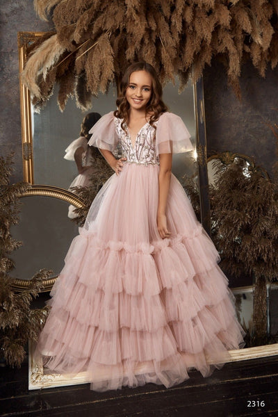 Sleeveless Contrast Lace Bodice Satin Ball Gown for Flower Girls, Photoshoots or Quinceanera