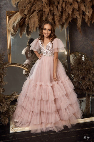 Buy Sleeveless Contrast Lace Bodice Satin Ball Gown for Flower Girls, Photoshoots or Quinceanera