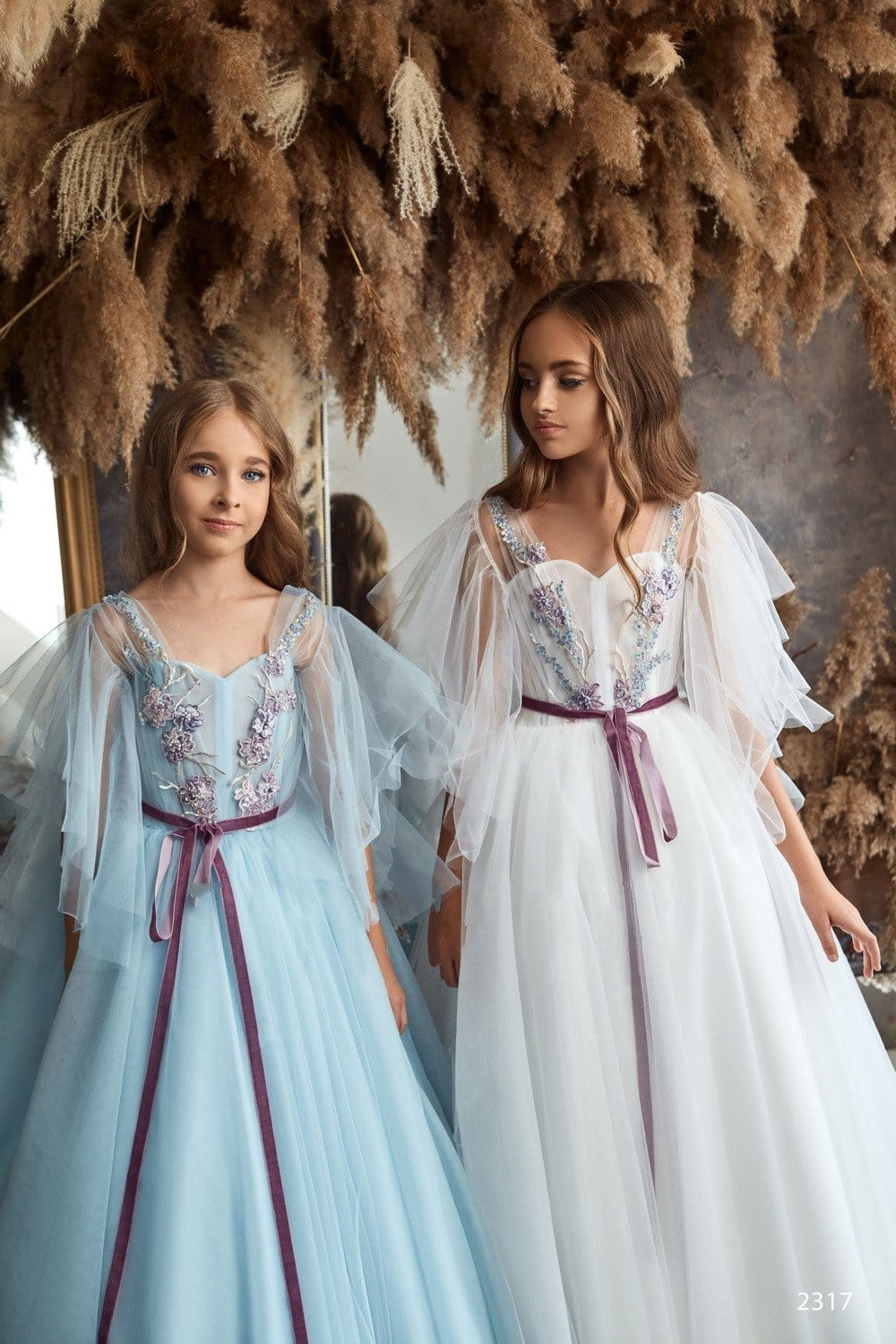 d774ca9abc4 Junior Bridesmaid Cap Sleeves Beaded Tulle Princess Ball Gown or First  Communion Dress