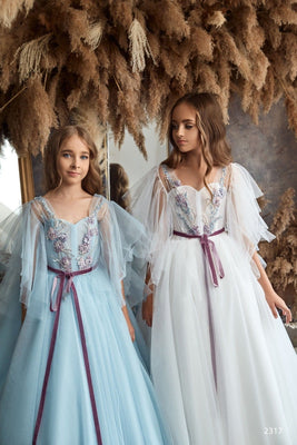 Buy Junior Bridesmaid Cap Sleeves Beaded Tulle Princess Ball Gown or First Communion Dress
