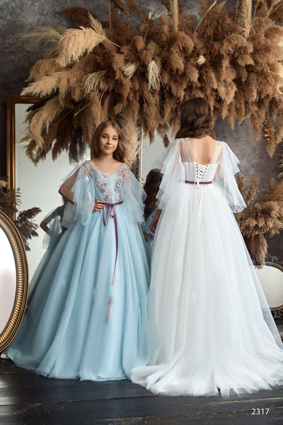 2317 Kamea Junior Bridesmaid Cap Sleeves Beaded Top Tulle Princess Ball Gown