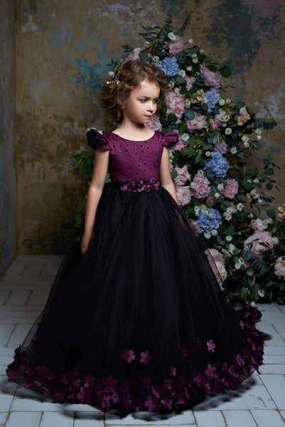 2318 Paulina Burgundy Girls Flutter Sleeves Ball Gown Long Dress with Train