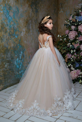Buy Girls Illusion Back Tulle Princess Ball Gown Flower Girl Dress For Weddings