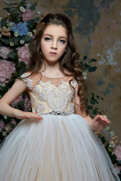 2319 Marisa Girl's Illusion Lace and Tulle Princess Ball Gown Flower Girl Dress